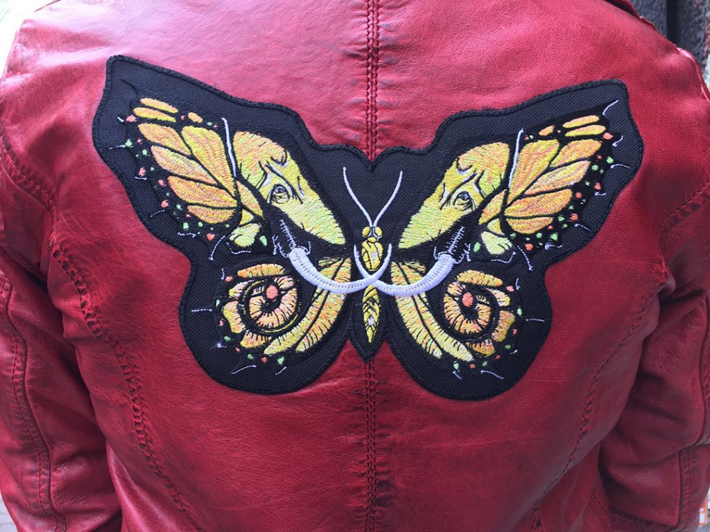 Otto Schade hand painted leather jacket with Elephutterfly