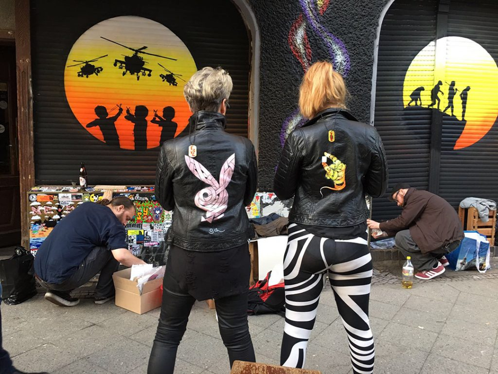 Otto Schade hand painted leather jacket with playboy bunny