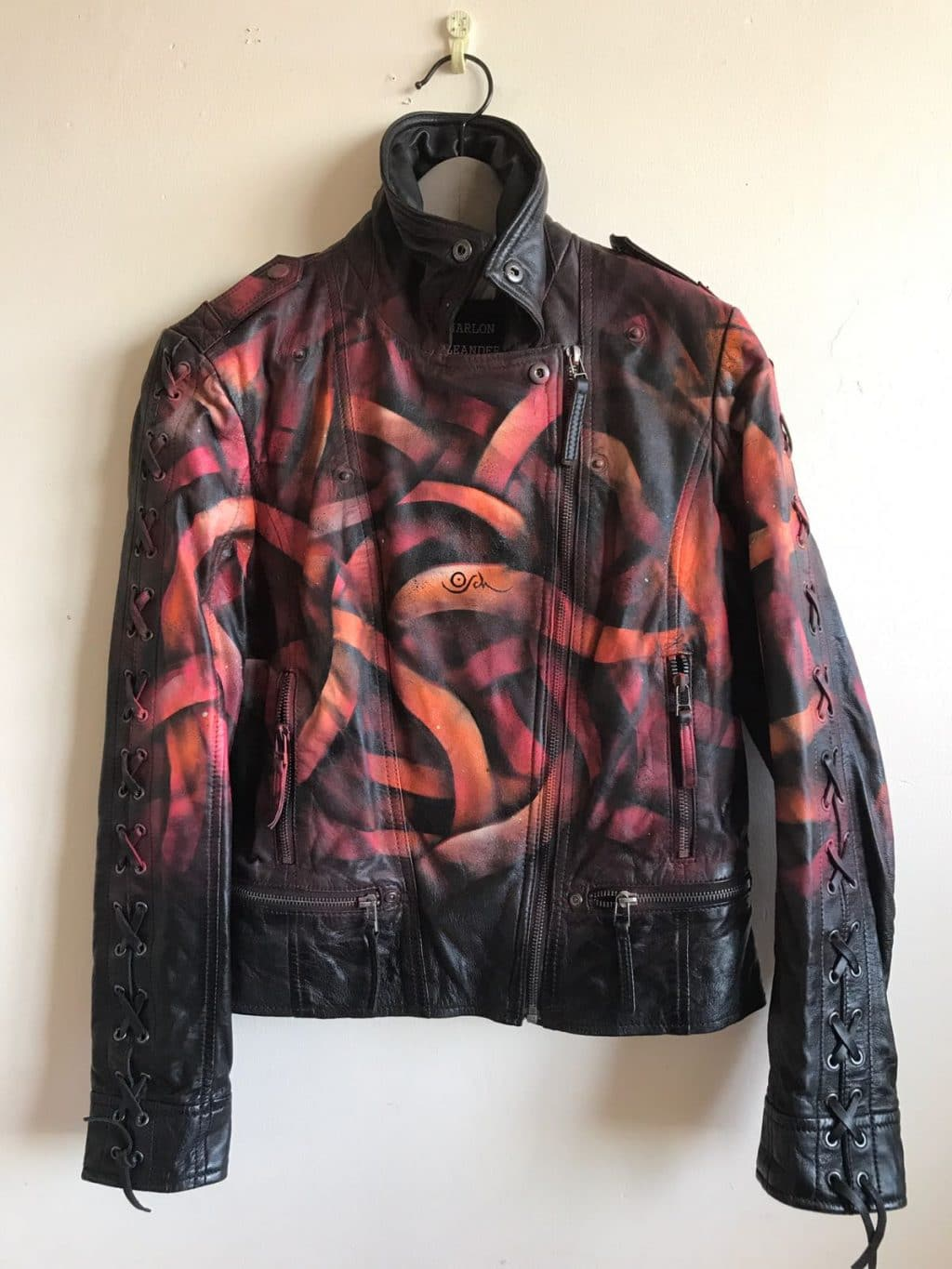 Stenciled Leather Jacket for Berlin based fashion label GALAXO GIRL