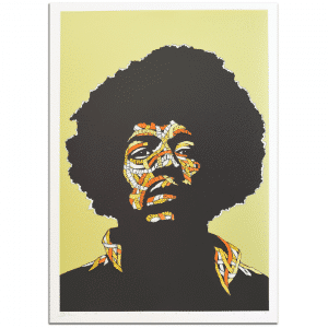 Otto Schade - Jimi Hendrix - GREEN BACKGROUND - Yellow + Orange 1 + Orange 2