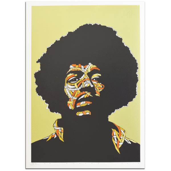 Otto Schade - Jimi Hendrix - GREEN BACKGROUND - Yellow + Orange 1 + Orange 2