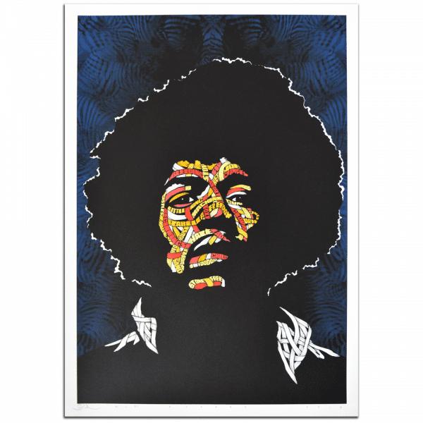 Otto Schade - Jimi Hendrix - BLUE Background - Yellow + Orange + Red