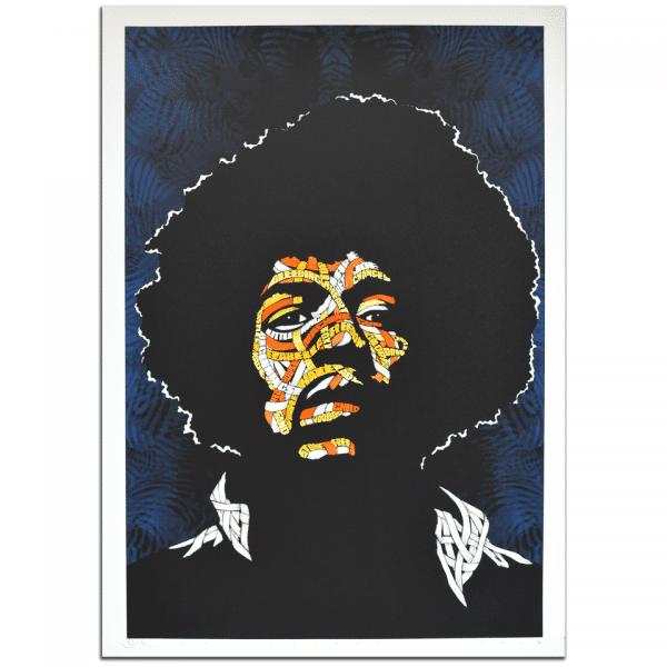 Otto Schade - Jimi Hendrix - BLUE Background - Yellow + Orange 1 + Orange 2